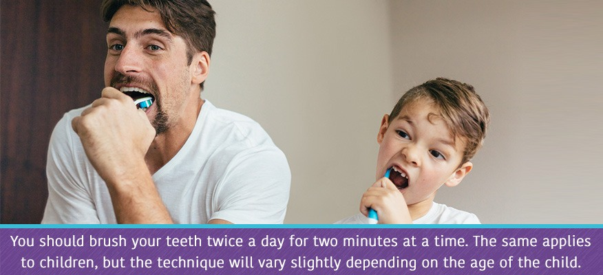 You should brush your teeth twice a day for two minutes at a time.  The same applies to children, but the technique varies.