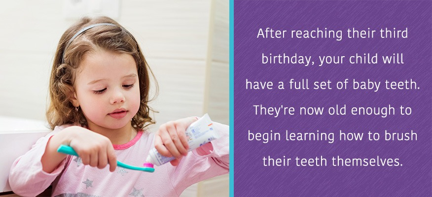 Your child will have a full set of teeth by their third birthday.  They're now old enough to learn to brush their teeth themselves.