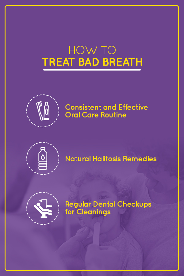 How to treat bad breath:  Consistent and effective oral care, Natural Halitosis Remedies, Regular Dental Checkups